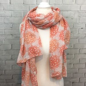 Accessories - Coral & White Lightweight Medallion Scarf